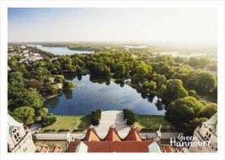 Green Hannover Postkarte Maschpark und Maschsee