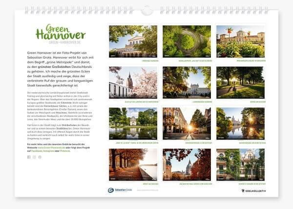 Green Hannover Wandkalender 2020 Rückseite